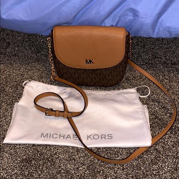 905794f809c1 Michael Kors half dome crossbody bag brown logo. M_5bb3b1ada31c33292737797b